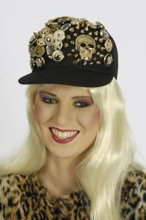 Baseball Kappe Cap Damen schwarz, goldene Knöpfe Totenkopf Gothic - Vorschau 2