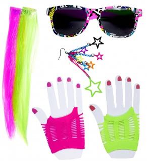 80er Jahre Girl 5tlg Zubehör NEON Extensions, Handschuhe, Brille Ohrring