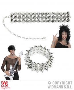 Set: Halskette u. Armband Nieten silber, Mottoparty Punk Damen Herren