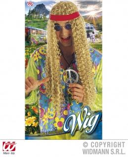 Hippie Perücke mit Stirnband, lang, blond Locken, 6058