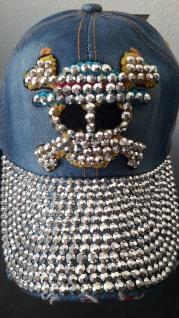 Baseball Käppi Cap ROBERT Herren Jeans-Strass Totenkopf Mütze blau