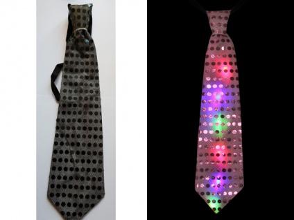 LED Krawatte SCHWARZ blinkt Pailetten Party Gag 4 Modi Karneval Unisex