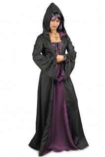 Vampir Hexen Mittelalter Gothic Kostüm + Kapuze schwarz-lila Damen 36-38