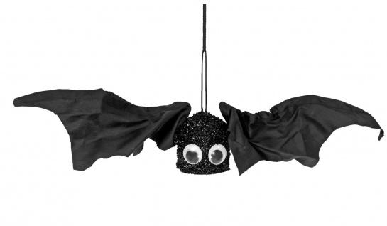 Flatter Fledermaus ANIMIERT, Sound Deko 11x40 cm, Halloween Hängedeko