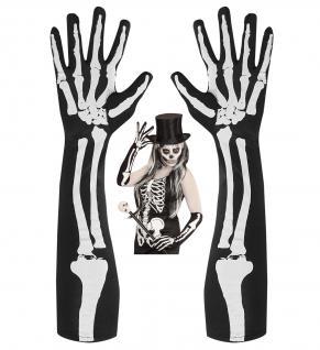 schwarze Skelett Knochen Finger Handschuhe lang Damen Halloween