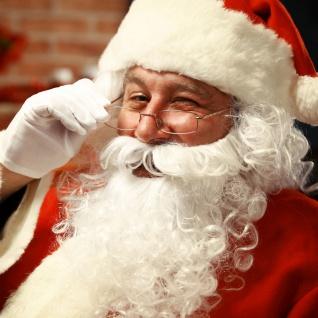 Weihnachtsmann Bart + Perücke weiß Set Nikolaus Bischof passend zum Kostüm