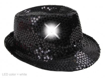 LED Pailletten Glitzer Trilby Hut schwarz, inkl. Batterien, Silvester