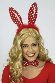 Bunny Ohren, Haarreif + Fliege ROT m Punkten 2tlg, Junggesellenabschied - Vorschau 1