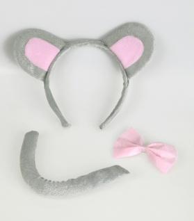 Mäuschen Maus Haarreif, Schwanz + Fliege grau 3tlg. Set Kinder Karnveal