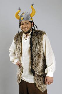 Plüschweste braun lang Gürtel Kostüm Raver Hippie Wikinger Herren Gr. 50-52