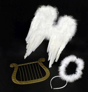 Engel Flügel SET weiss, Harfe, Heiligenschein Kinder Erwachsene Weihnachten