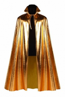 Umhang Cap gold metallic 135 cm Disco Königin Damen Girl Weltall Space