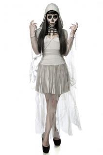 Skeleton Ghost Geist Grusel grau Komplettset Kostüm Halloween Damen - Vorschau 2