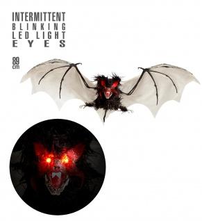 Haarige Fledermaus 89 cm pulsierend blinkende LED Augen Halloween Deko Grusel