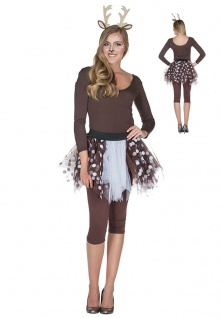 Rehkitz Reh Kostüm Petticoat braun weiss Damen Tierkostüm Karneval
