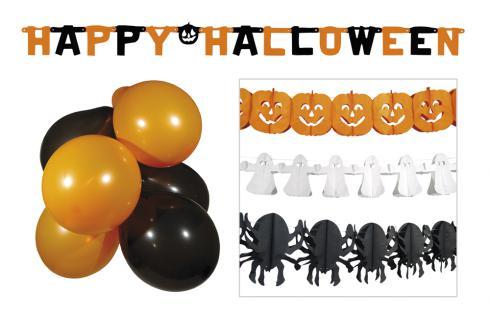 5 tlg.Halloween Set Raum Deko, Girlanden Kürbis, Luftballon, Geist Spinne