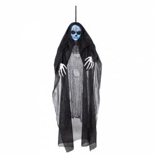 Skelett Figur animiert Sound Deko Kopf leuchtet Nonne schwarz Halloween