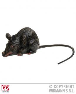 Gruselige Horror Ratte, grau schwarz 10 cm Deko Halloween