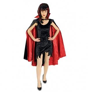 Teufel Vampir Umhang Band Kragen schwarz rot Damen 110 Halloween doppellagig
