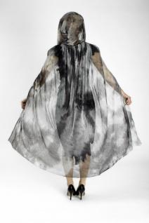 Tüll Umhang Kapuze schwarz grün transparent Vampir Gothic, Damen 110 cm