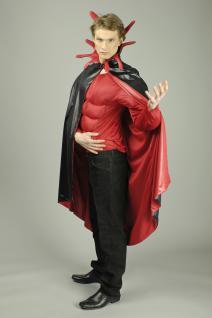 Teufel Umhang Steh Kragen schwarz rot Herren 136 cm Halloween Karneval - Vorschau 2