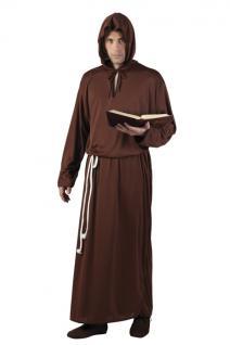 Mönch, Priester Gewand Kutte, Kostüm Kordel und Kapuze braun, Gr. M/L