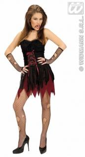 Vampira Vampir Kostüm Damen sexy kurz Fransen Gr. 36 = S