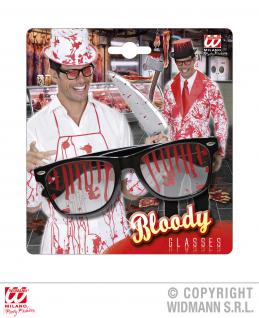 Schwarze Brille m. Blut befleckt Horror Halloween Accessoire z. Kostüm