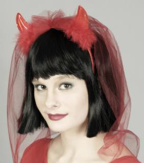 Teufel Hörner Haarreif Brautschleier Junggesellenabschied ROT