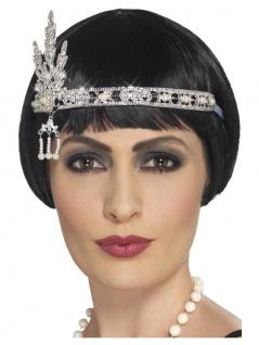 Stirnband Kopfband Charleston Flapper silber Strass u Perlen 1920 er Damen