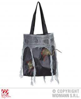 Tasche mit Ratten und Stofffetzen, Hexen, Halloween 27x30