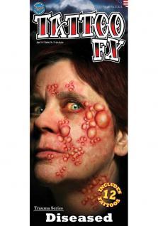 12 TATTOO FX face Gesicht Warzen Blasen Theaterqualität Effekte Schminke