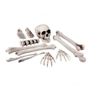 12 tlg. Schädel Knochen Gebeine grau Deko Knochenhaufen Halloween