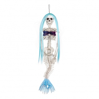 Deko Hänge Skelett Meerjungfrau 40 cm Mermaid Haare Halloween, Karneval