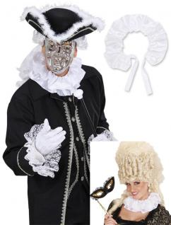 Halskrause SATIN weiß, Graf, Halloween, Renaissance, Barock & Rokoko