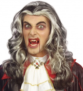 Vampir Dracula Gothic Perücke grau-weiß Herren Locken Halloween
