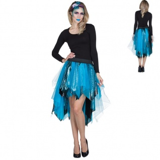 Petticoat Tüll Rock Tournüre Meerjungfrau NIXE blau Damen Kostüm