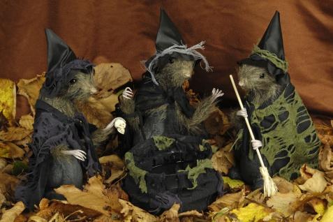 3 Hexen Ratten + Hexenkessel Deko Halloween, Hexen Hexenbesen
