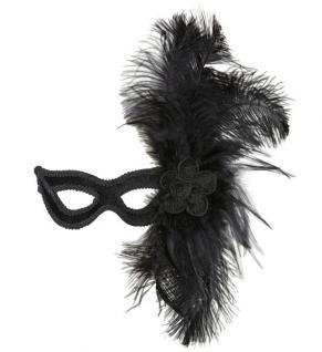 schwarze Augen Maske Samt, Borde Blume m. Feder Damen
