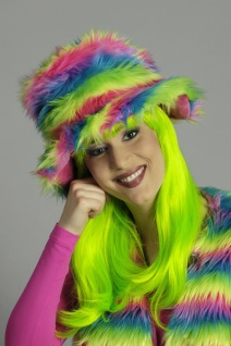 Plüschhut Hippie-Hut Damen Neon bunt Flower Power 70er -80er Jahre