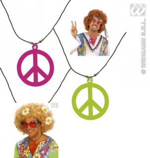 Halskette, Kette Neon Peace Hippie, Flower, 70er Jahre --orange
