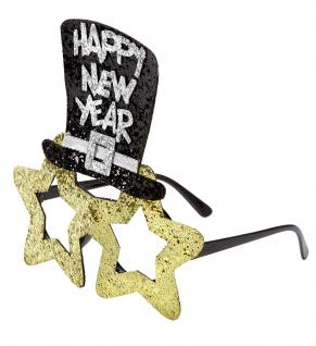 Happy New Year GOLD Brille mit Sterne Zylinder, Silvester Party