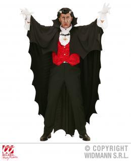 Vampir Dracula Umhang Cape schwarz Fledermaus gezackt 150cm + GRATIS