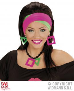 80er Jahre, 2er SET Schweißband, Kopfband Neon grün und pink