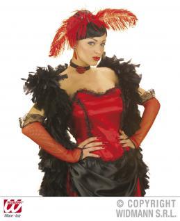 FINGERLOSE NetzHANDSCHUHE, ROT, schwarze Spitze Damen Saloon ca 33 cm
