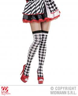 Pierrot Clown Harlekin Overknee Strümpfe Karomuster weiß-schwarz 36-38