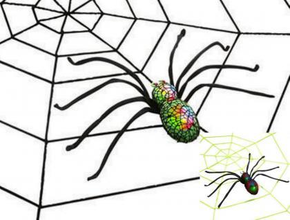 Leucht-Spinne + Spinnennetz ---neon grün