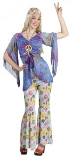 70er Hippie Flower Power, Kostüm, M 36- 38, Tunika, Hose, Kette