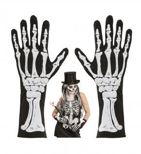 schwarze Skelett Knochen Finger Handschuhe halblang Damen Halloween