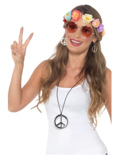 4 tlg. Hippie Peace Fower Power Set Haarband Brille Ohrclips Kette Party Motto